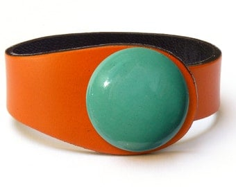 Orange leather bracelet. Abstract bracelet. Yellow cuff bracelet. Abstract cuff bracelet. Orange leather. Spanish orange leather, orange