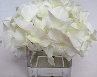 "Premium Jumbo Cream Hydrangea Bloom Set in a 3"" x 3"" Cube Vase with Acrylic Water"