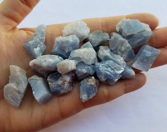 Blue Calcite Stones, Raw Natural Stones, Jewelry Supplies, Small Semi Precious Stones, Chunky Blue Calcite Cluster, Rough Natural Stones