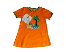 FRENCH VINTAGE 70's / kids / summer dress / orange cotton terrycloth / tree appliqué / new old stock / size 12/18 months