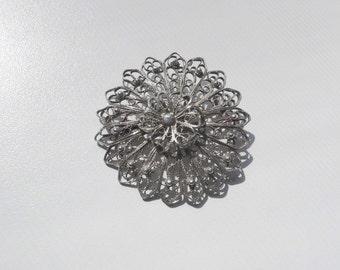 Vintage Silver Filigree Flower Brooch   pin