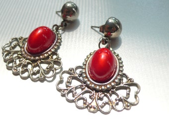 1980s Red Filigree Dangle Earrings