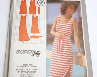 Simplicity 9522 Uncut Vintage Pattern / 80's Tank Dress with Sash / Super Jiffy Pullover Dress in Two Lengths