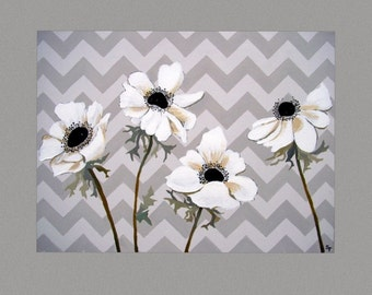 """White Flower painting White Poppies Painting Wall Art by Susie Tiborcz 18"""" x 24"""""""