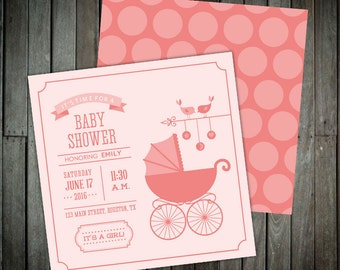 Polka Dot Baby Carriage - Baby Shower Invitations
