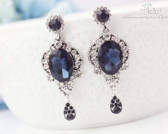 Sapphire blue Bridal earrings Sapphire Blue Wedding Earrings Something Blue Wedding Jewelry Accessories Teardrop Crystal Earrings 1223SB