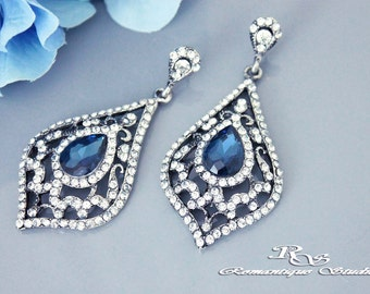 Sapphire Blue bridal earrings Blue wedding earrings Blue crystal drop earrings sapphire blue wedding jewelry bridal jewelry - 1351