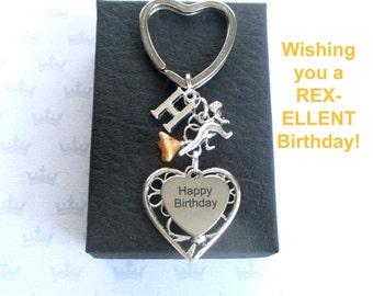 Dinosaur keyring - Personalised keyring - Dinosaur keychain - T-rex keyring - Happy Birthday keyring - Raptor keychain - Birthday gift - UK