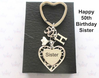 Sister 50th birthday gift - 50th keychain - Sister gift - Personalised 50th keyring - Personalised sister keyring - Sister keychain - UK