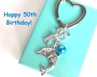 50th birthday gift - Dolphin keychain - Personalised 50th keyring - 50th keychain - Dolphin keyring with pearl - Initial keyring - Etsy UK