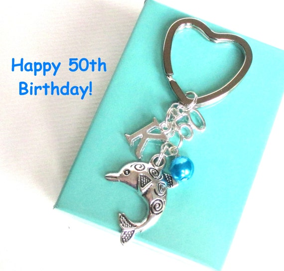 50th Birthday Gift Dolphin Keychain Personalised 50th