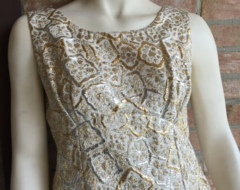 Brocade Evening gown, long dress, luxex, floor lenght, formal dress, couture, M-L size, hight fashion