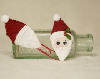 Christmas Santa Book Marker, Santa Red Paper Clip, Wool Felt Christmas Decoration *Ready to ship