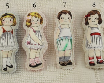Vintage looking small cloth fabric stuffed plush doll