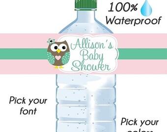 ANNIVERSARY SALE Custom Baby Shower Water Bottle Labels, Wedding Labels, Waterproof Water Bottle Labels