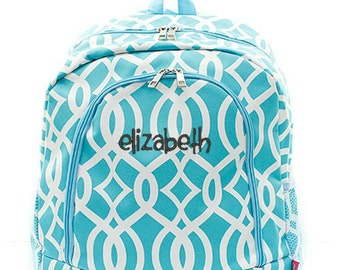 Personalized Ivy Backpack Monogrammed Bookbag Trellis Moroccan Aqua Blue Girl Large Canvas Kids Tote School Bag Embroidered Monogram Name
