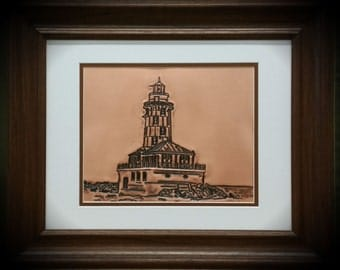 Lighthouse on Copper, Engraved Lighthouse, 7th anniversary gift
