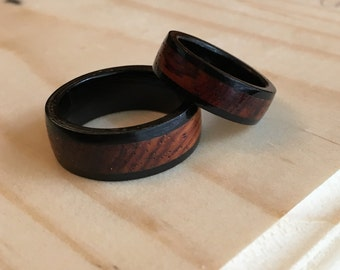 Ebony Wedding Ring Set, Wooden Wedding Bands, Handmade Commitment Rings