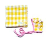 Baby BUNDLE - Yellow and white gingham swaddle and Bonnet,Yellow and White Gingham with pink Trim , Knit reversible bonnet, pilot cap