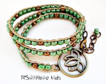 Lotus Flower Kids Bracelet, Girls Wrap Bracelet, Kids Beaded Bracelet, Bohemian Girls Bracelet Handmade