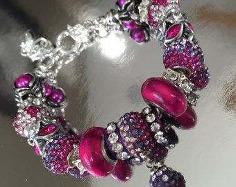 Fuchsia and purple crystal bead bracelet.