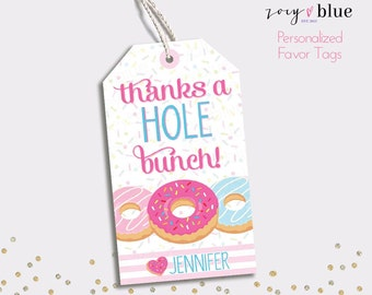 Donut Favor Tags - Doughnut Birthday Thank You Tags - Colorful Sprinkles Party Favors - Printable Teacher favor -Personalized Digital File