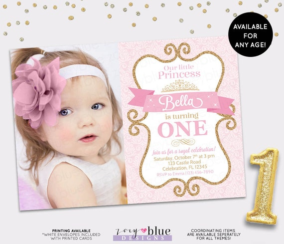 Princess Birthday Invitation Girl Gold Glitter Pink Gold – Pink 1st Birthday Invitations
