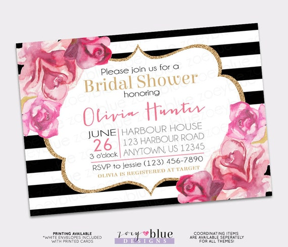 Floral pink gold bridal shower invitation black and white watercolor il570xn filmwisefo