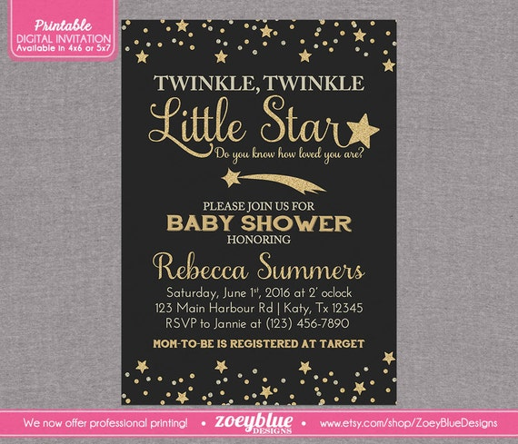 twinkle little star baby shower invitation chalkboard black gold