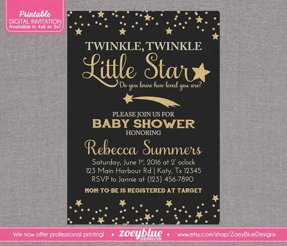 twinkle little star baby shower invitation chalkboard black gold