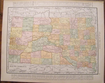 Authentic Antique Vintage 1913 Map of South Dakota Rand McNally Unrivaled Atlas of the world page 103 year old map