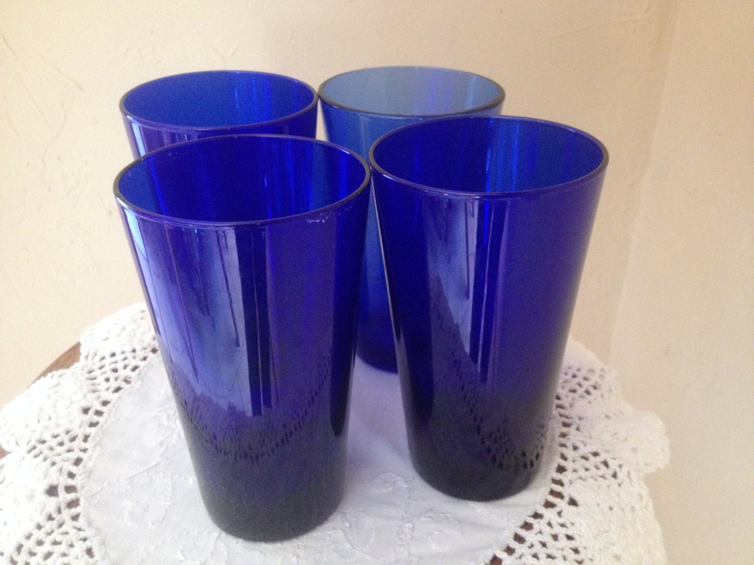 Pretty Set Of 4 Cobalt Blue Glass Large Drinking