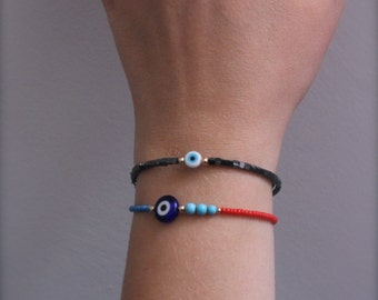 Evil eye beads. Evil eye bead bracelet.Hematite and gold filled bead jewellery.