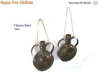 ON SALE. Wall vase. Vase with handles. Hanging vase. Wall hanging vase. Vintage flask. Metal vase. Copper vase.  Round vase. Hanging bud vas