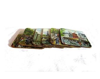 Art coasters. Vintage coasters. Cork coasters. Plastic coasters. Coffee coasters. Square coasters. Paris souvenir. Paris paintings coasters.