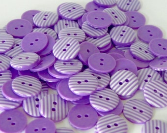 10 x 15mm Purple Stripe Buttons