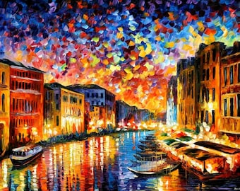 Italy Cityscape Oil Painting On Canvas By Leonid Afremov - Venice Grand  Canal