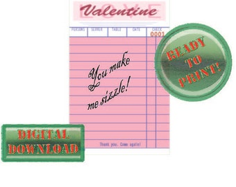 Diner Check Valentine Card You Make Me Sizzle Pink Party Tag Scrapbook File