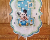Mickey Mouse 1st Birthday party Cake Topper centerpiece pick decor supplies