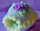 LARGE SIZE Panoramic Decorated Sugar Easter Egg for Easter baskets, egg hunt,Easter gifts and centerpiece. Perfect Easter baby gift,
