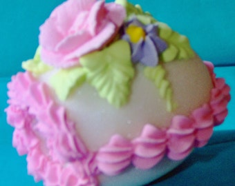 Beautiful LARGE SIZE Panoramic Decorated Sugar Easter Egg with ENCHANTING little window.