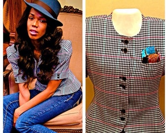 SALE Vintage Houndstooth Shortsleeve Blazer Top by Christopher