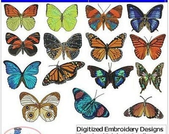 Embroidery Design CD - Butterflies(2) - 15 Designs - 9 Formats - Threadart