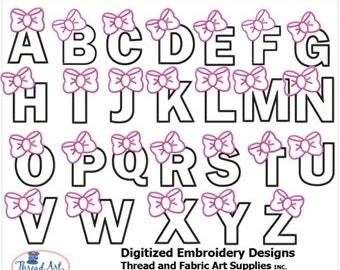 Embroidery Design CD - Bow Alphabet (1) - 26 Designs - 9 Formats - Threadart
