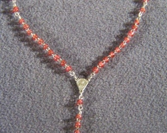 Vintage magenta pink glass bead bold rosary cross    **RL