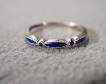 Vintage Sterling Silver 3 Marquise Lapis Fancy Wedding Band Ring, Size 7 **RL