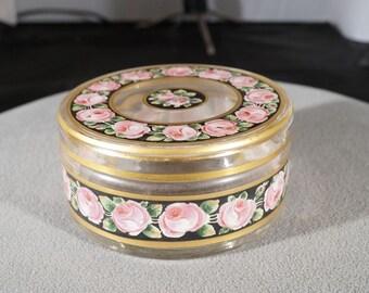 Vintage Fancy Detailed Multi Colored Floral Gold Gilt Enameled Glass Vanity Dresser Lidded Container    **RL