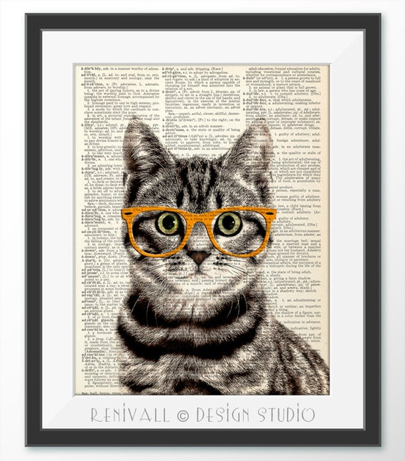 Cat With Glasses Dictionary Art Print Gift Ideas For Book