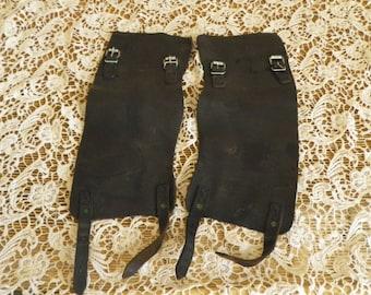 Vintage Black Leather Pair of Spats Gaiters