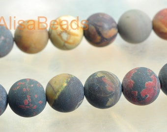 Natural Picture Jasper,matte round, beads, 10mm,15 inches